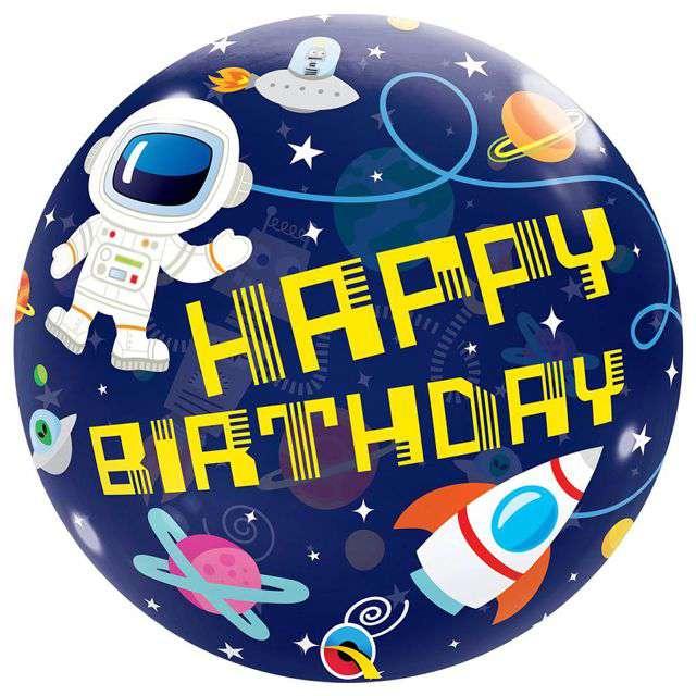 "Balon foliowy ""Kosmos - Happy Birthday"", Qualatex Bubbles, 22"" ORB"
