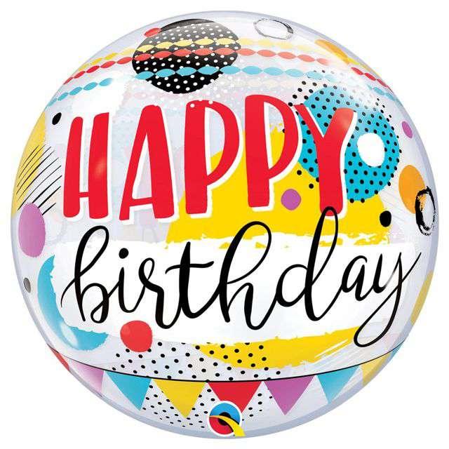 Balon foliowy Happy Birthday - Kółka i Groszki Qualatex Bubbles 22 ORB