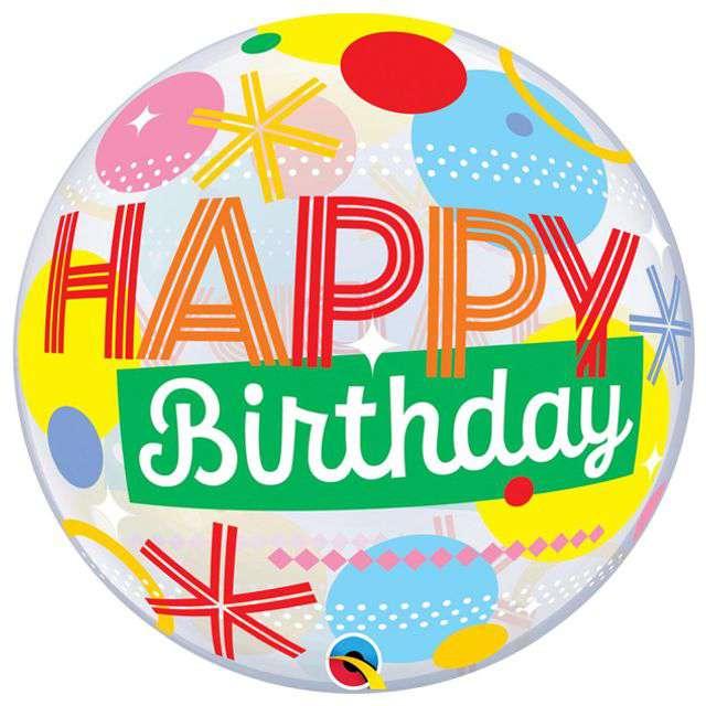 """Balon foliowy """"Happy Birthday"""", Qualatex Bubbles, 22"""" ORB"""