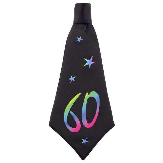 """Krawat """"Beauty and Charm - 60 urodziny"""", czarny, GODAN, 42 cm"""