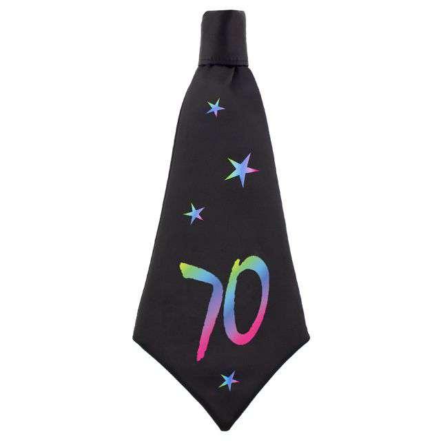 """Krawat """"Beauty and Charm - 70 urodziny"""", czarny, GODAN, 42 cm"""