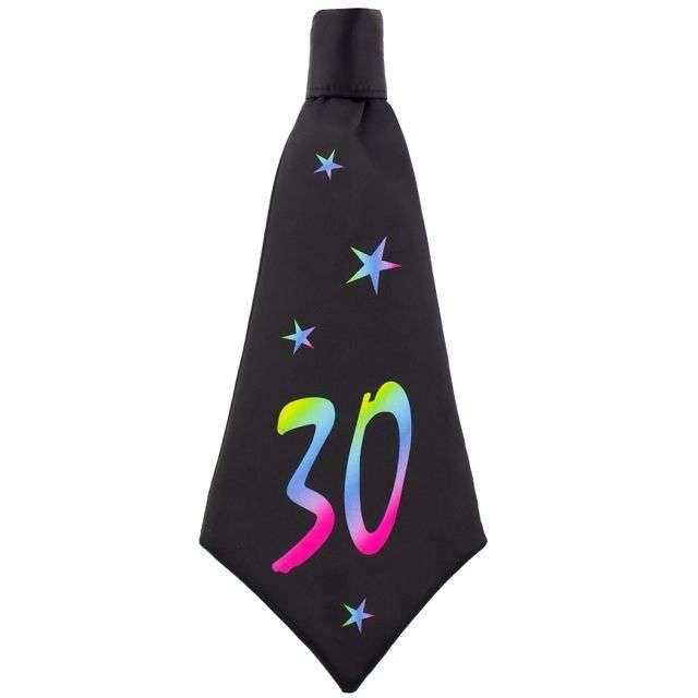 """Krawat """"Beauty and Charm - 30 urodziny"""", czarny, GODAN, 42 cm"""