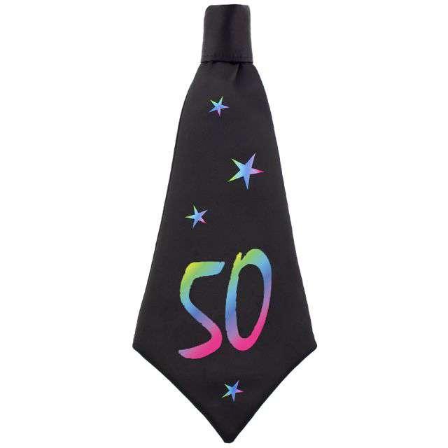 """Krawat """"Beauty and Charm - 50 urodziny"""", czarny, GODAN, 42 cm"""