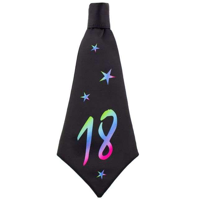 """Krawat """"Beauty and Charm - 18 urodziny"""", czarny, GODAN, 42 cm"""