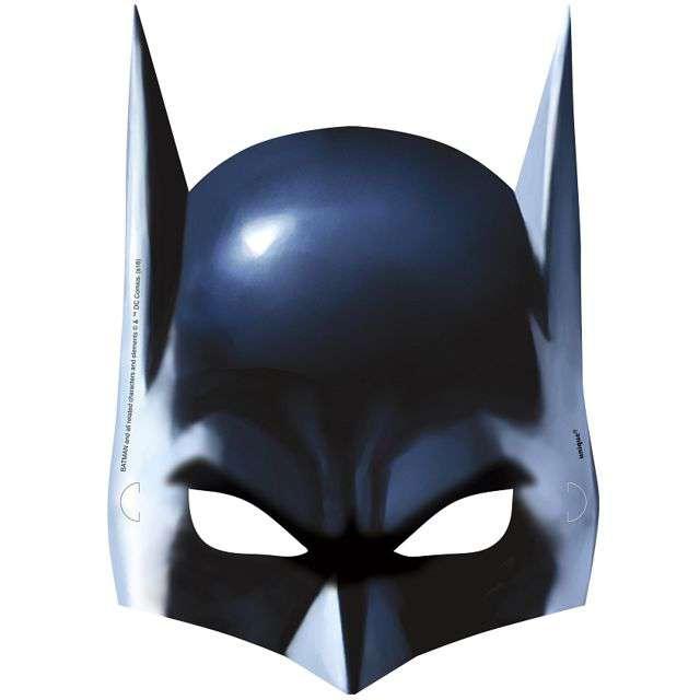 "Maska ""Batman"", papierowa, UNIQUE, 8 szt"