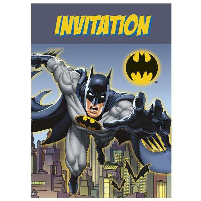 """Zaproszenia urodzinowe """"Batman"""", UNIQUE, 8 szt."""
