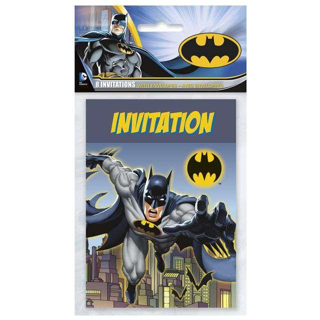 Zaproszenia urodzinowe Batman UNIQUE 8 szt.