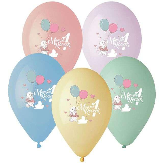 "Balony ""Mam już 1 roczek - królik"", 13"", Gemar, 5 szt."