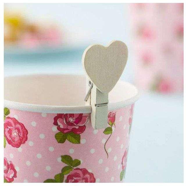 _xx_Spinacze serca Vintage Rose kość słoniowa 20 szt.