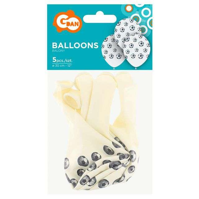 Balony Piłka Nożna białe GODAN 12 5 szt