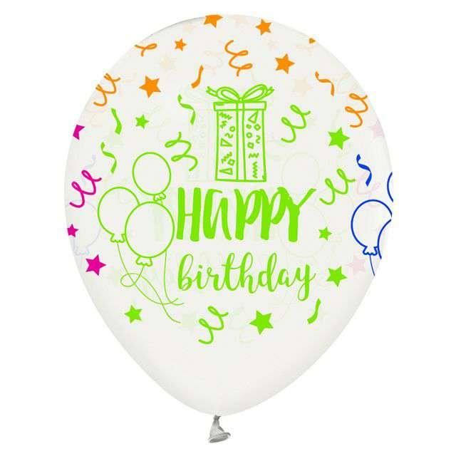 Balony Happy Birthday transparentne GODAN 12 5 szt.