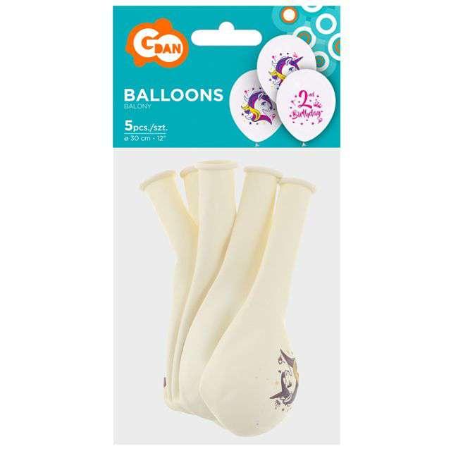 Balony Jednorożec na 2 urodziny pastel biały GODAN 12 5 szt