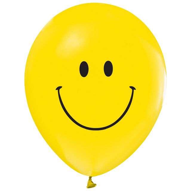 """Balon """"Uśmiech Klasyczny"""", żółty, 12"""", 5 szt"""