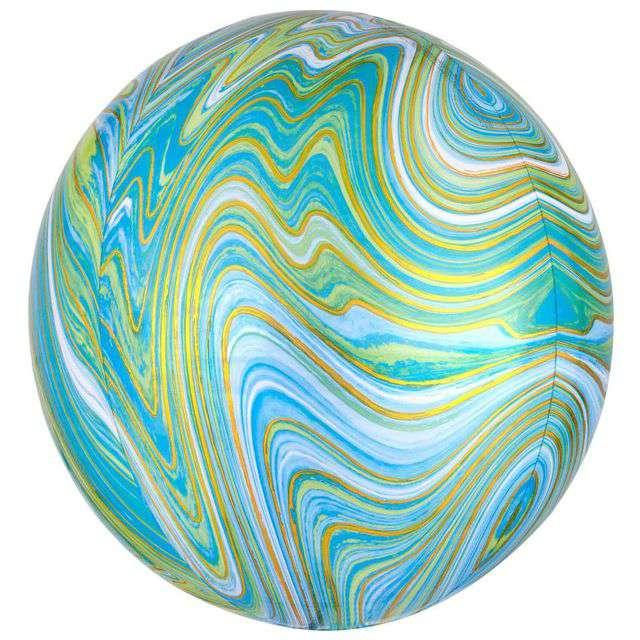 Balon foliowy Marblez - marmurkowy niebiesko-zielony AMSCAN 15 ORB