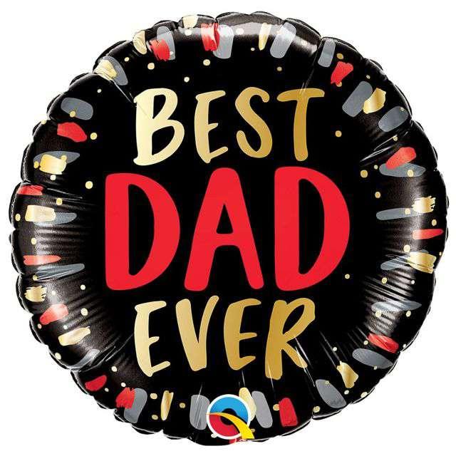 "Balon foliowy ""Dzień Ojca - Best Dad Ever"", QUALATEX, 18"" RND"