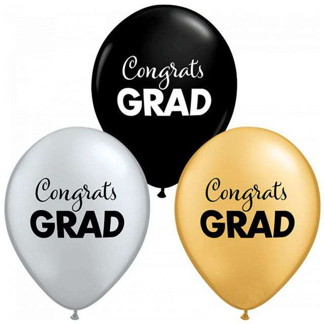 "Balony ""Congrats Grad"", mix, QUALATEX, 11"", 25 szt"