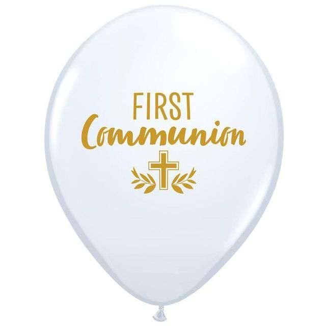 """Balon foliowy """"Komunia Święta - First Communion"""", białe, Qualatex, 11"""", 25 szt"""