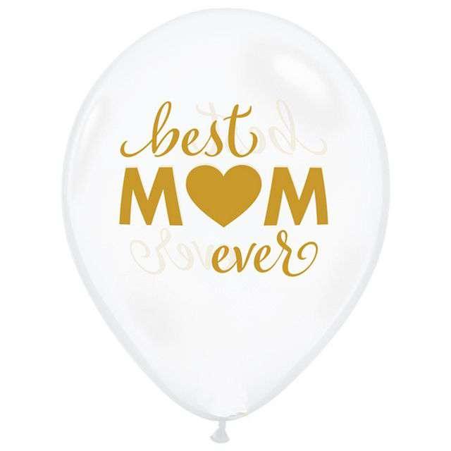 """Balony """"Dzień Matki - Best Mom Ever"""", transparentne białe, QUALATEX, 11"""", 25 szt"""