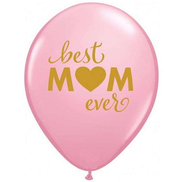 """Balony """"Dzień Matki - Best Mom Ever"""", transparetne różowe, QUALATEX, 11"""", 25 szt"""
