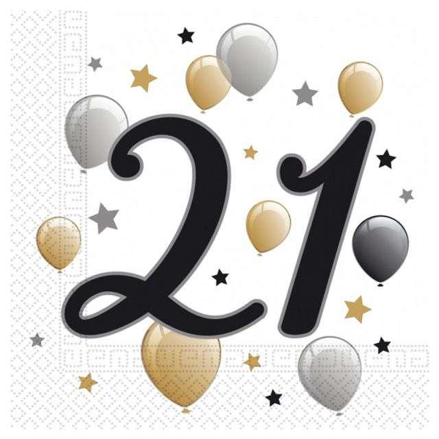 """Serwetki """"21 Urodziny - Balony"""", Godan, 33 cm, 20 szt"""