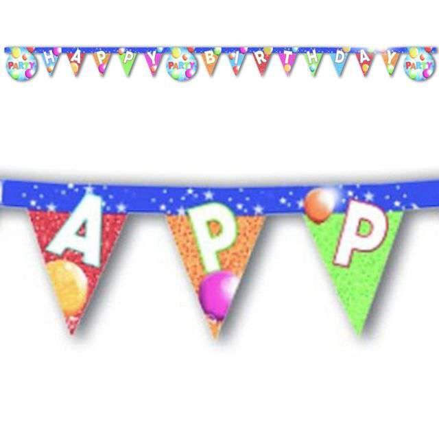 "Baner ""Happy Birthday - Sparkling Balloons"", Godan, 160 cm"