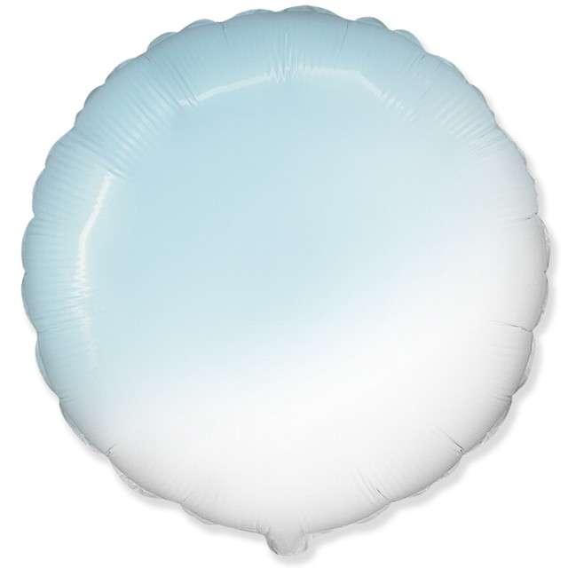 """Balon foliowy """"Okrągły JUMBO - Gradient"""", biało-błękitny, FLEXMETAL, 32"""" RND"""