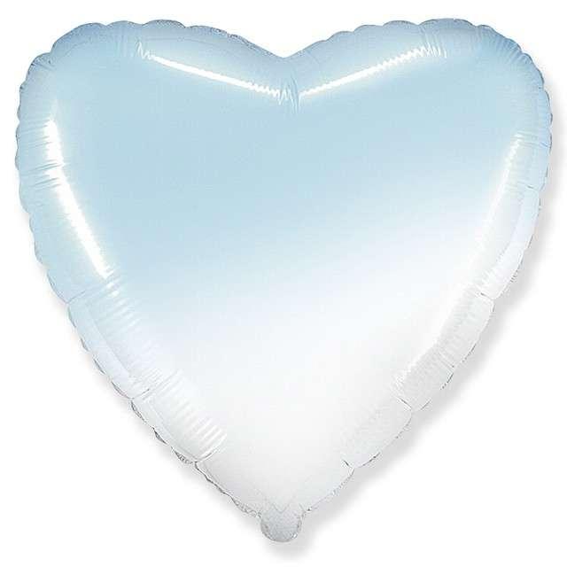 """Balon foliowy """"Serce JUMBO - Gradient"""", biało-błękitny, FLEXMETAL, 32"""" HRT"""