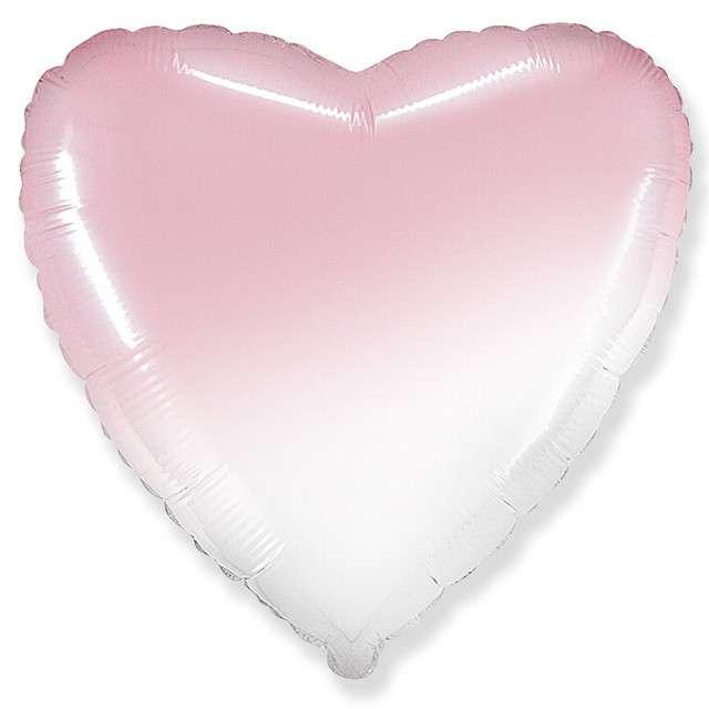 Balon foliowy Serce JUMBO - Gradient biało-różowy FLEXMETAL 32 HRT