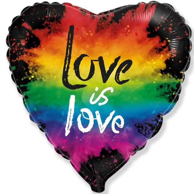 """Balon foliowy """"Serce Love is love"""", tęczowy, FLEXMETAL, 18"""" HRT"""