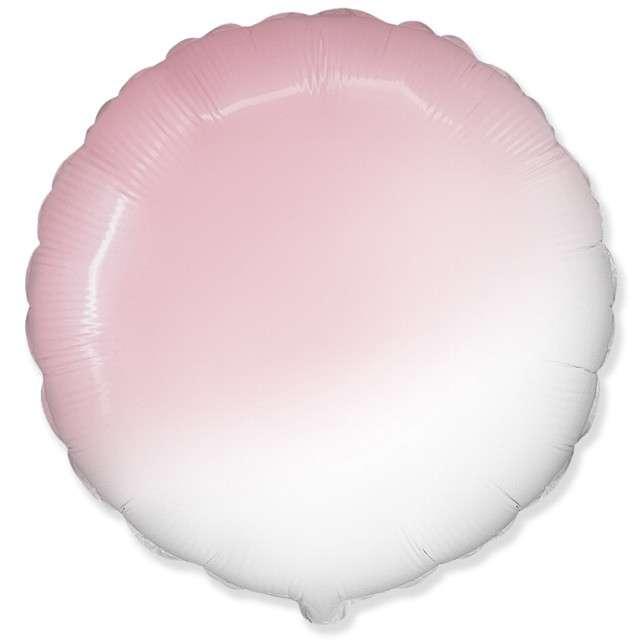 """Balon foliowy """"Okrągły"""", biało różowy, FLEXMETAL, 18"""" RND"""