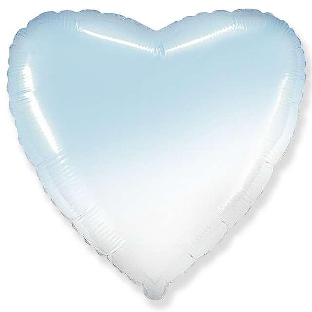 """Balon foliowy """"Serce"""", biało błękitny, FLEXMETAL, 18"""" HRT"""