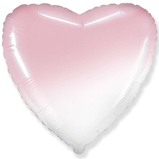 """Balon foliowy """"Serce"""", biało różowy, FLEXMETAL, 18"""" HRT"""