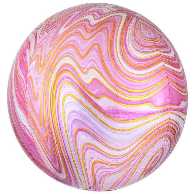 Balon foliowy Marblez - marmurkowy różowy AMSCAN 15 ORB