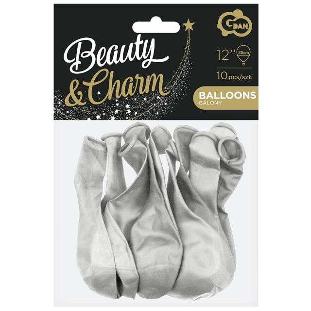 Balony Beauty and Charm srebrny metalik Godan 12 10 szt