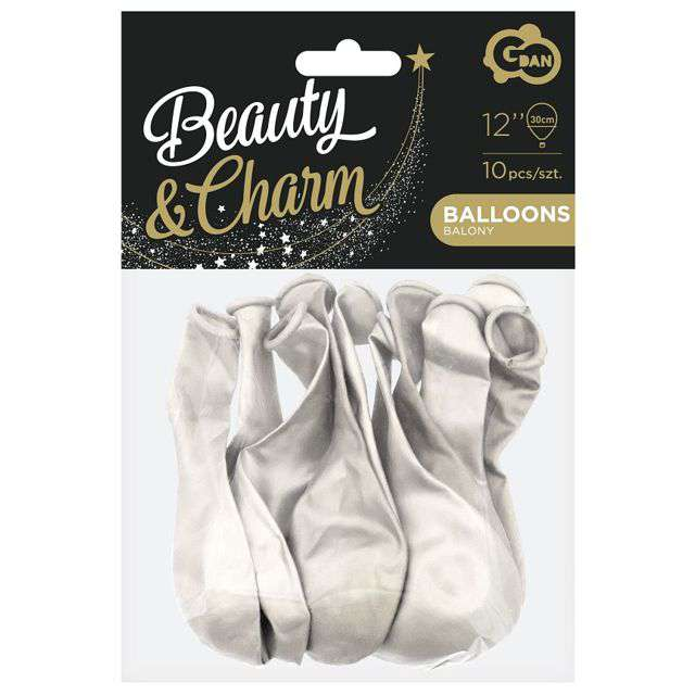 Balony Beauty and Charm biały metalik Godan 12 10 szt