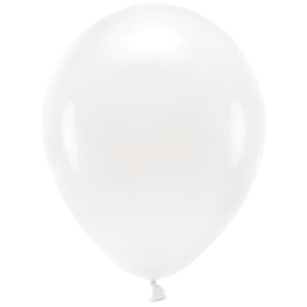 """Balony """"Ekologiczne"""", białe, Partydeco, 10"""", 100 szt"""