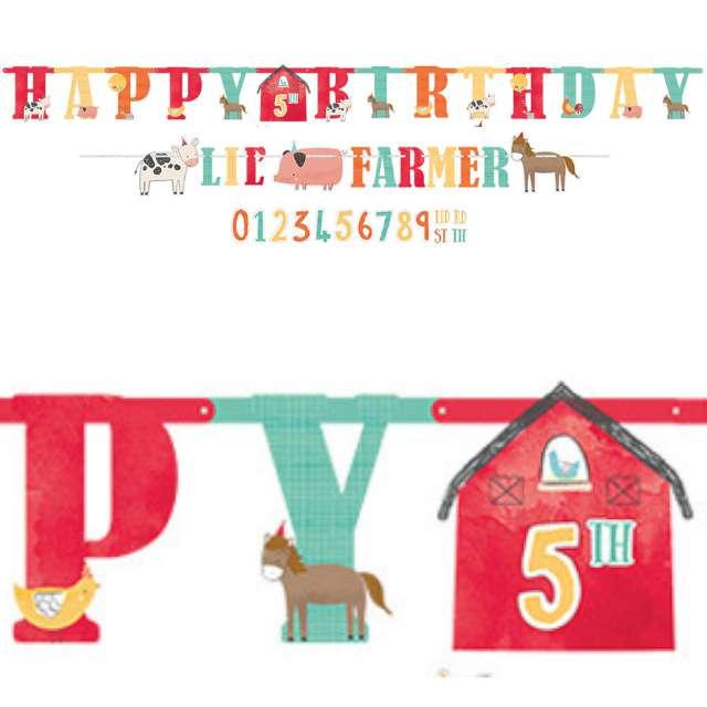 """Baner """"Farma - Happy Birthday Lil Farmer"""", Amscan, 182 x 10.1 cm"""