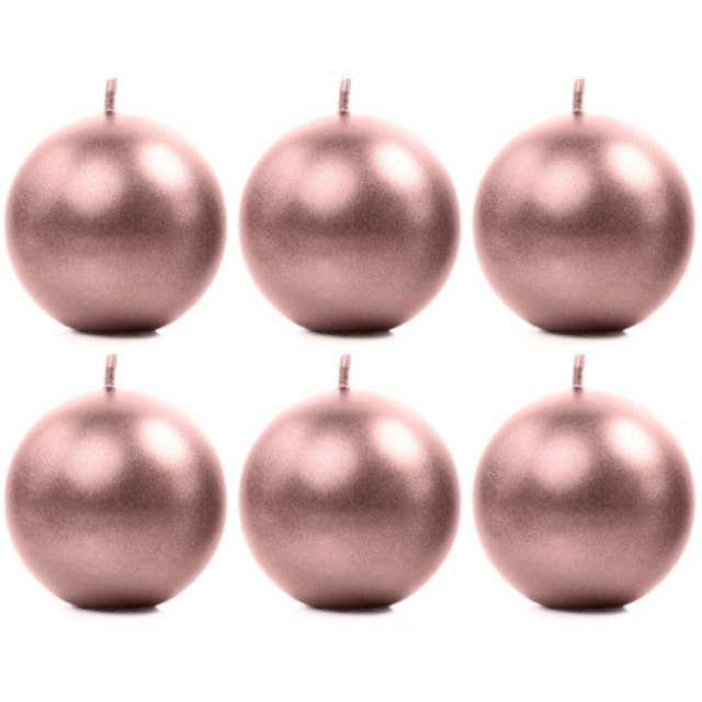 """Świeca """"Kula Metalizowana"""" różowe złoto, 8cm PartyDeco 6szt"""