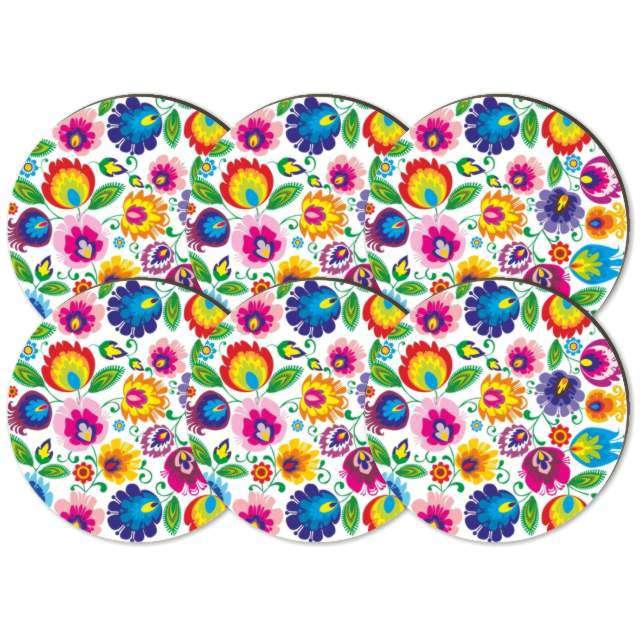 Podkładki drewniane Kwiaty Łowickie na białym 6 szt