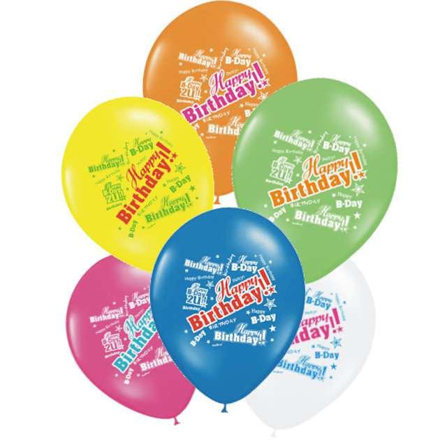 "Balony ""Happy Birthday"", mix, STRONG, 6 szt"