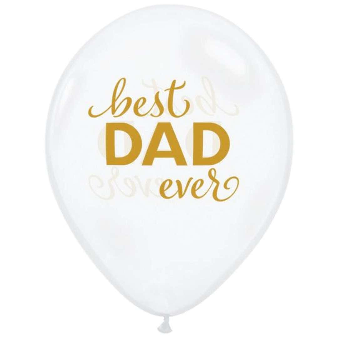 """Balony """"Dzień Ojca - Best Dad Ever"""", transparentne białe, QUALATEX, 11"""", 25 szt"""