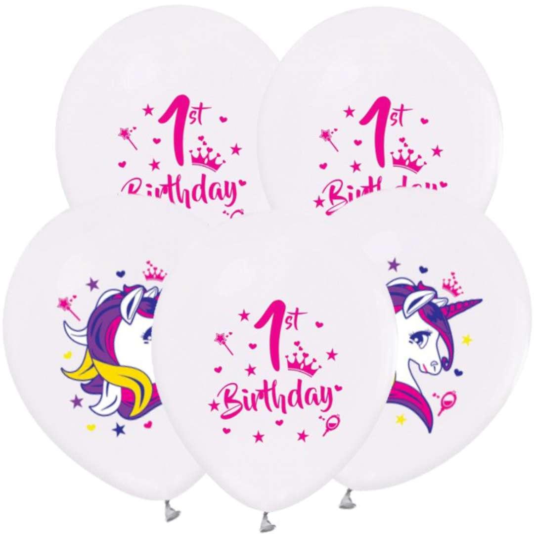 Balony Jednorożec na 1 urodziny pastel biały  GODAN 12 5 szt