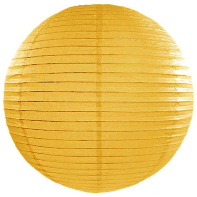 """Lampion papierowy """"Kula"""", zółty ciemny, PartyDeco, 35cm, 1 szt"""