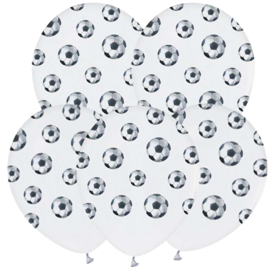 "Balony ""Piłka Nożna"", białe, GODAN, 12"", 5 szt"