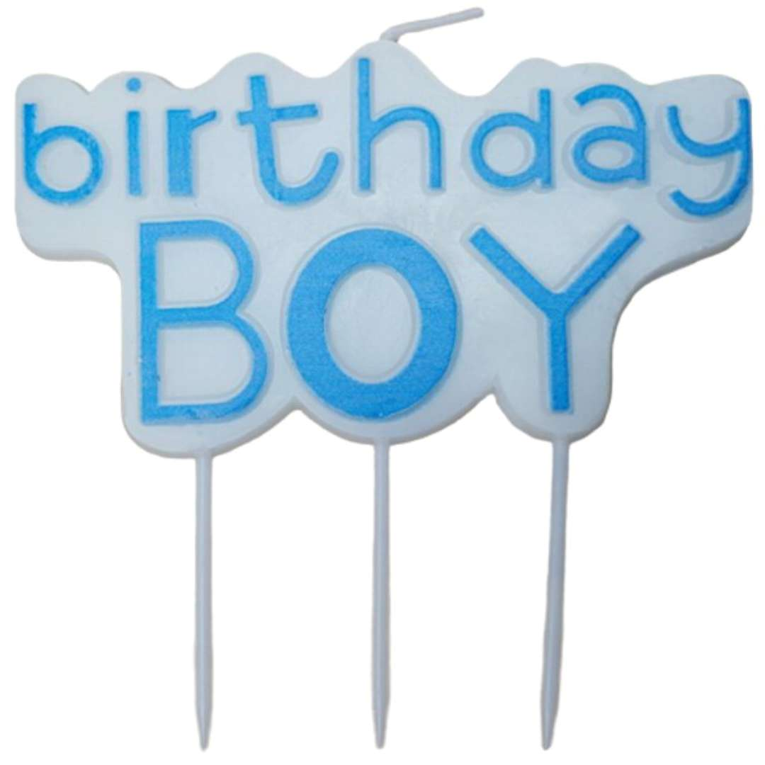 """Świeczka na tort """"Baby Shower - Birthday Boy"""", niebieska, Top Ten"""