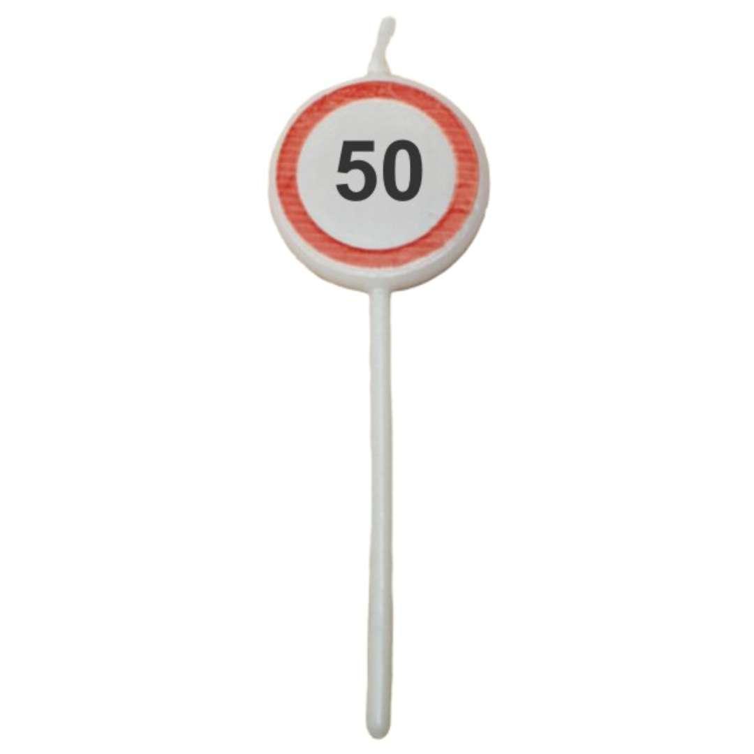 """Świeczka na tort """"Traffic - 50 urodziny"""", Top Ten, 3szt"""