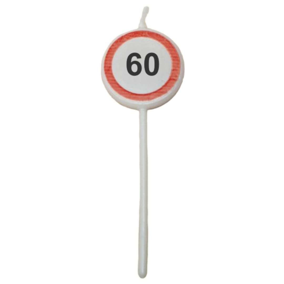 """Świeczka na tort """"Traffic - 60 urodziny"""", Top Ten, 3szt"""