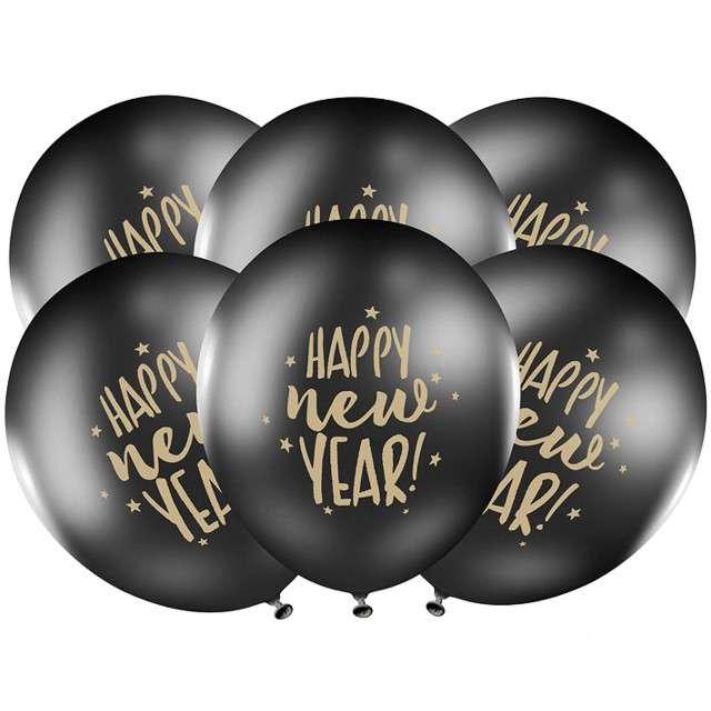 """Balony """"Happy New Year"""", czarne, PartyDeco, 50szt"""