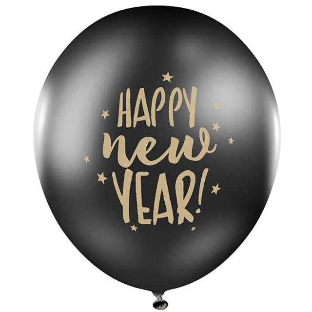 Balony Happy New Year czarne PartyDeco 50szt