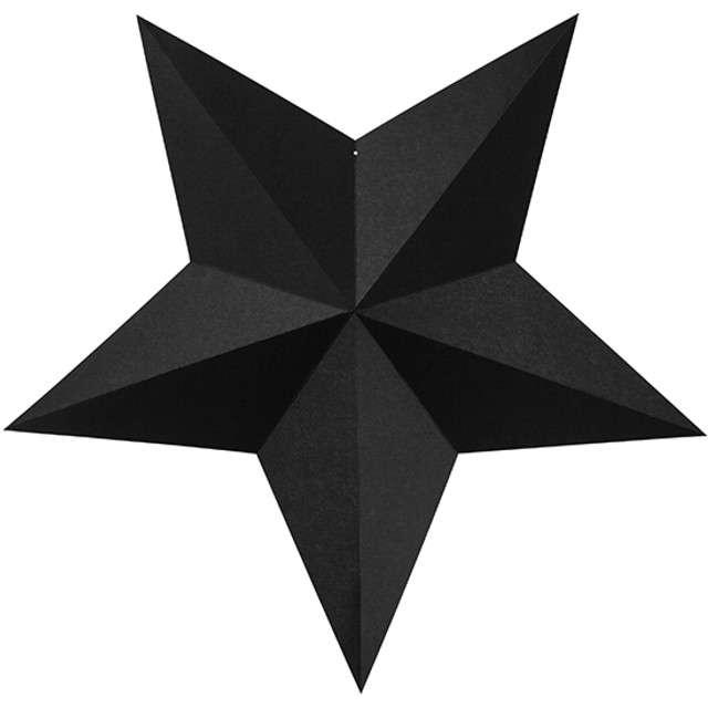 """Dekoracja """"Gwiazdy"""", czarne, PartyDeco, 6szt"""
